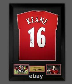 Roy Keane Signed Manchester United Football Shirt In A Framed Presentation