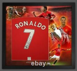 SIGNED CRISTIANO RONALDO Deluxe Montage Frame 2008 MANCHESTER UNITED Shirt £349