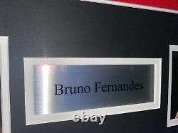 Signed Bruno Fernandes Manchester United Framed Home Shirt Portugal Sporting