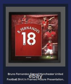 Signed Bruno Fernandes Manchester United shirt in a montage frame COA £249