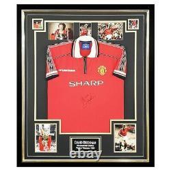 Signed David Beckham Jersey Framed Treble Winners 1999 +COA