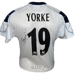 Signed Dwight Yorke Retro Manchester United Umbro Away Shirt Aston Villa
