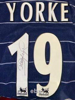 Signed Dwight Yorke Retro Manchester United Umbro Away Shirt Aston Villa 2
