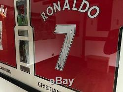 Signed Eric Cantona & Cristiano Ronaldo Framed Shirts Manchester United Legends