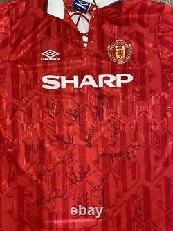 Signed Rare Manchester United Double 1994 Signed Umbro Home Shirt Scholes Keane