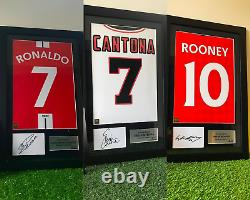 Signed Rooney, Cantona, Ronaldo Reds in Manchester Bundle Home shirt Print