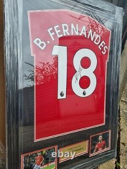 Signed and framed Bruno Fernandes Manchester United home shirt